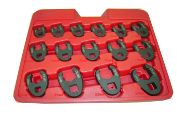 15PC. Professional Metric Crowfoot Wrench Set