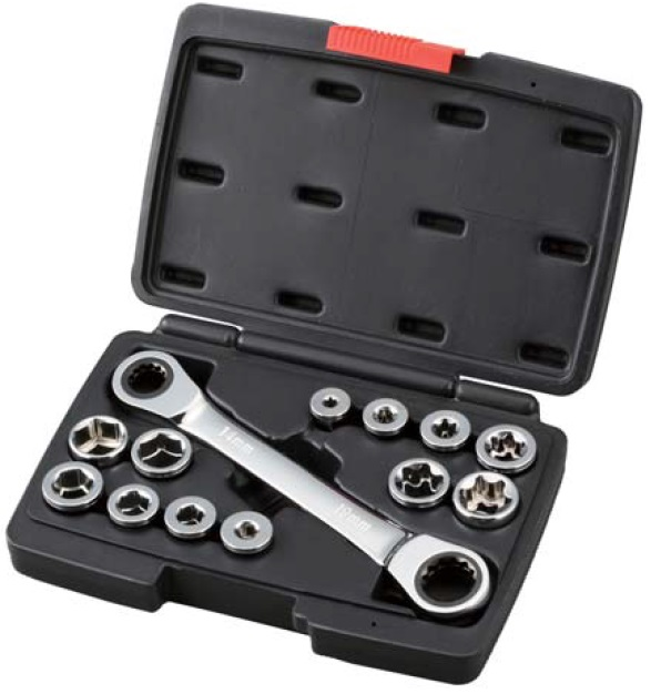 13Pcs Go Through Socket and Gear Wrench Set