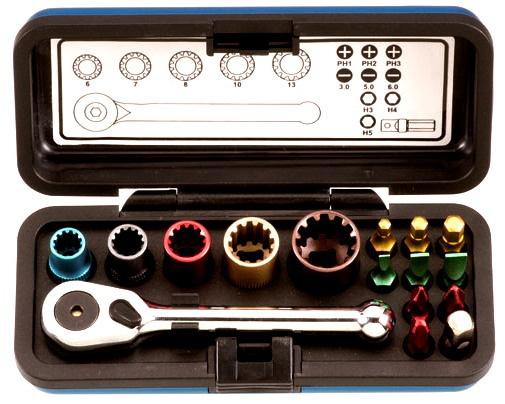 16Pcs Rectangular Aluminum Box Micro-Painting Bits & Teeth Socket Set