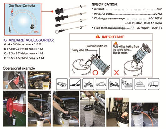 9.5 Pneumatic/ Manual Operation Fluid Extractor PAT.