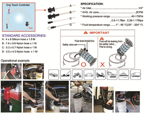 Pneumatic/ Manual Operation Fluid Extractor PAT.